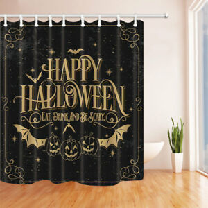 Image Is Loading Decor Bat With Pumpkin Shower Curtain Set