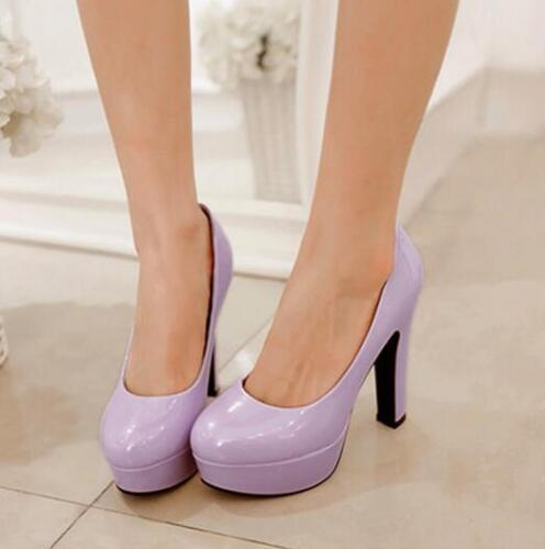 Women/'s Round Toe High Heel Platform patent leather Club Party Prom court Pumps