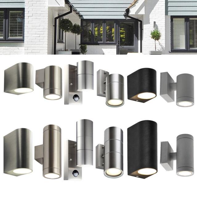 LED Außen Wand Strahler Leuchte Terrassen Grundstück Edelstahl Effekt Lampe rund