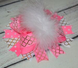 Pink And White Easter Over The Top Ostrich Feather Boutique Hair Bow
