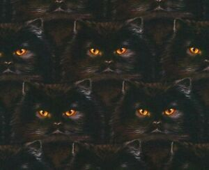 FAT-QUARTER-FABRIC-WHISKERS-amp-TAILS-BLACK-CAT-FACES-HALLOWEEN-100-COTTON-FQ