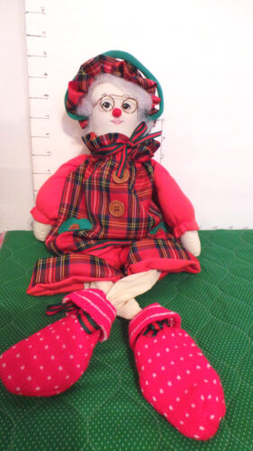 "Christmas Doll, Granny DollMrs. Claus, Shelf Sitter, Fabric, 21"", Collectible"