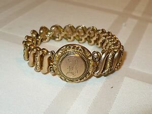 Image Is Loading Beautiful Heavy Antique Gold Bracelet Marked Patented