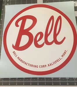 Bell-Vintage-Travel-Trailer-Decal-Kalispell-Mont-Red-amp-White