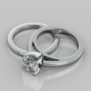 2.00 Ct Round Moissanite Engagement Band Set 18K Solid White Gold Ring Size 4.5