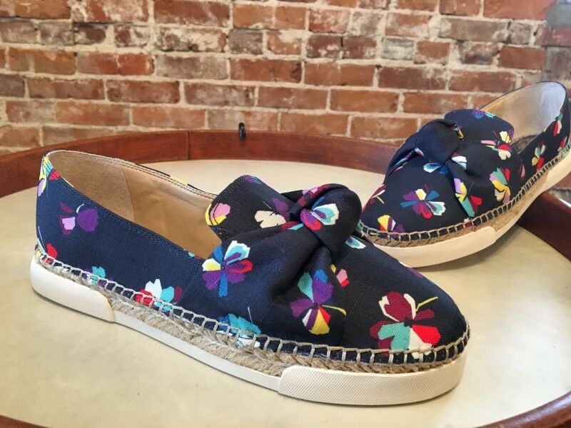 Vince Camuto Navy Abstract Floral Knot Detail Tratida Slip-On Espadrille New