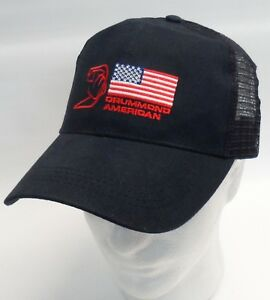 Drummond-American-Embroidered-Trucker-Mesh-Snapback-Baseball-Cap-Hat-Blue