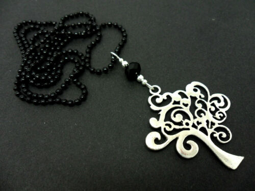 """26/"""" LONG A LOVELY TREE OF LIFE PENDANT BLACK BALL CHAIN NECKLACE NEW."""