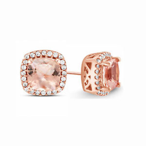 2-00-Ct-Round-Morganite-Citrine-Halo-Pave-14K-Rose-Gold-Stud-Earrings-6mm-ITALY