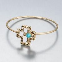 Gold Finish Simple Cross Vintage Turquoise Accent Bangle Bracelet