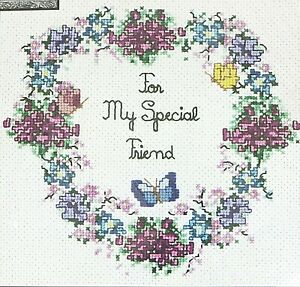 Sandi Phipps Counted Cross Stitch Kit My Special Friend #354 Flowers Heart NWT