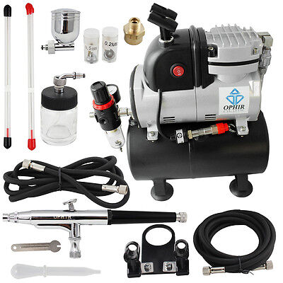 OPHIR Pro 3  Airbrush Dual-Action /& Single-Action Kits with 110V Air Compressor