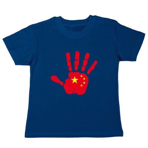 Handabdruck Fahne flag Chine Cina hand print China Kinder T-Shirt