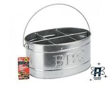 NEW VINTAGE STYLE RETRO ZINC BBQ CONDIMENTS STORAGE CADDY HOLDER TIN