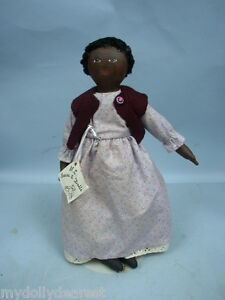 Artist-Original-14-034-Black-Cloth-Doll-by-M-E-Bears-amp-Dolls-With-Tag