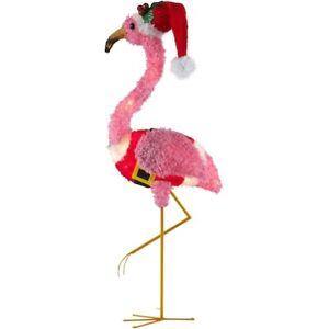 Holiday Time Light-up Fluffy Christmas Flamingo Home ...