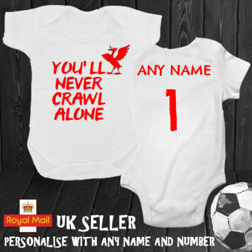 Liverpool You/'ll Never Crawl Alone Personalised Babygrow Romper