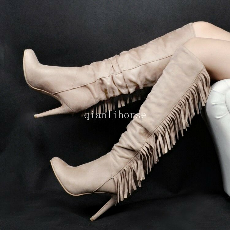 Women's Round Toe Tassel Leather Knee High Boots Stilettos High Heel Roman shoes