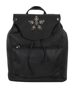 GOTHX-SKULL-STAR-Black-Tassel-Tie-Backpack-Rucksack-Steam-Punk-Rock-Goth-PU-Bag
