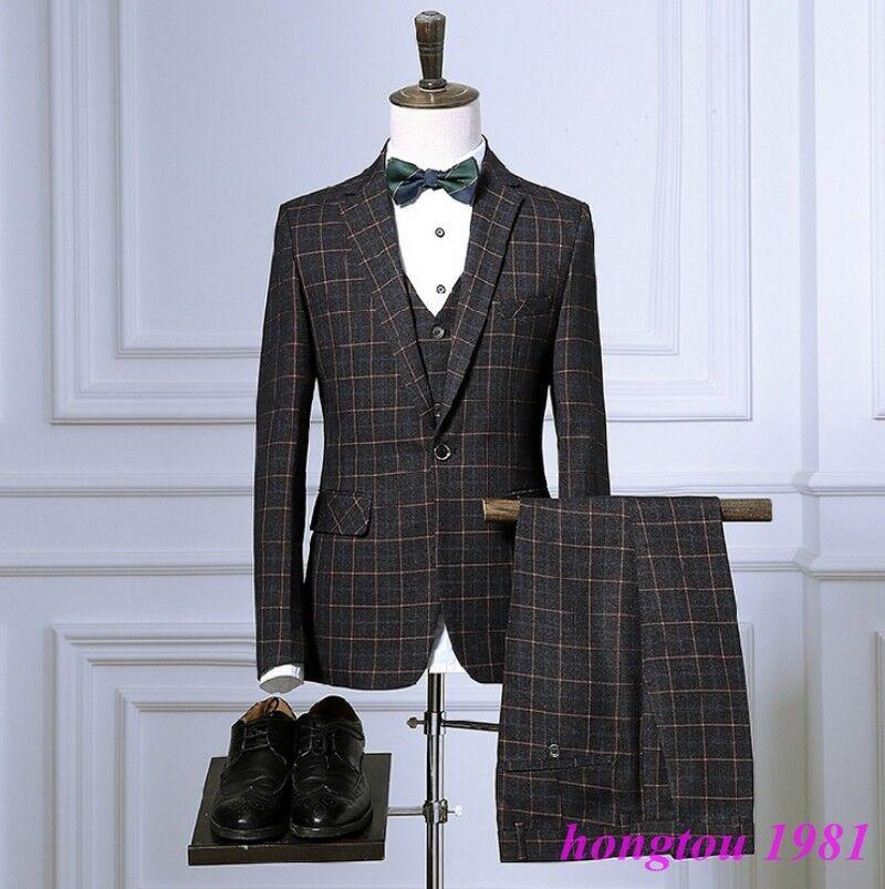 Vestido de boda  para Hombre rejillas a Cuadros Cuadros ajustada de un botón formal trajes de 3PCS Nuevo  100% precio garantizado