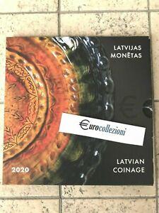 LETTONIE-2020-COFFRET-BU-1-CENT-A-2-EURO-2-EURO-CC-COFFRET-OFFICIEL-LATVIA