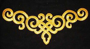 metallic Gold embroidery patch lace applique venise yoke dress dance costume