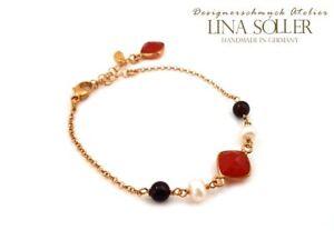 Designer-Armband-mit-Granat-Karneol-Perlen-925-Silber-24K-vergoldet-1873