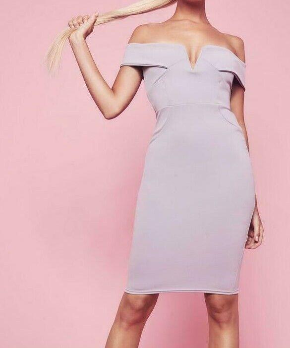 MISSGUIDED V Front Bardot Midi Dress Grey US 0 (camg170)