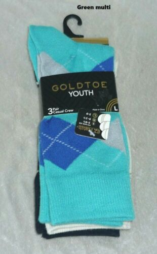 NEW Boys Youth Goldtoe 3 Pair Casual Socks Shoe size L 3-9