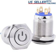 12mm Silver Stainless Steel Momentary Blue Power Led Push Button Switch
