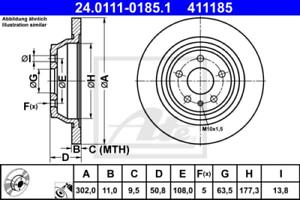 2x Bremsscheibe für Bremsanlage Hinterachse ATE 24.0111-0185.1