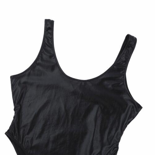 UK Women High Cut Wetlook Faux Leather Bodysuit Jumpsuit Yoga Gym Leotard Romper