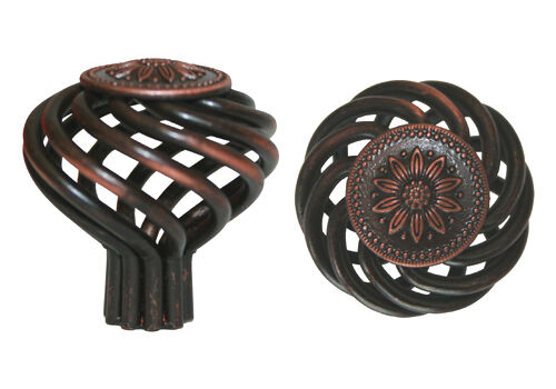 """Oil Rubbed Bronze Sunflower BirdCage Kitchen Cabinet Knobs 40MM 1 5//8/"""""""