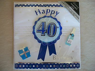 """NEW IN PACKAGE!!! 6 3//4/"""" 3D Luxury Handcrafted Blue /""""Happy 40th Birthday/"""" Card"""