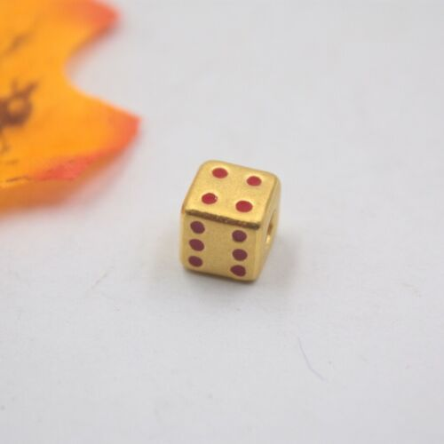 Pure 24K Yellow Gold Pendant 3D Craft Dice-Shape Pendant Leather Cord FREE