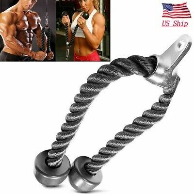 Tricep Rope Multi Gym Push Up Pull Press Down Cable Bodybuilding Attachment Cord