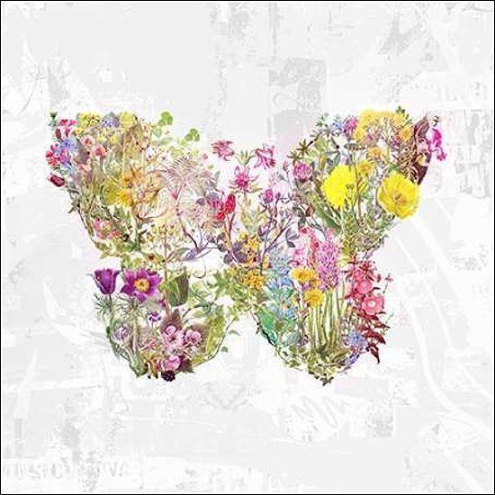 Albert Teis  Floral Butterfly Keilrahmen-Bild Leinwand Herz Schmetterling modern