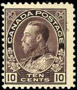 Canada-116-mint-F-OG-LH-1912-King-George-V-10c-plum-Admiral-CV-120-00