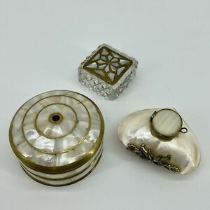 Mother-Of-Pearl-Brass-Trinket-Snuff-Box-Square-Circle-Heart-Set-Of-3
