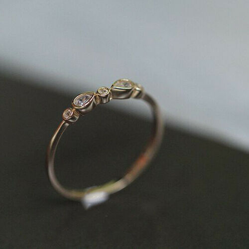 Simple 925 Silver Gold Plated Wihite Topaz Wedding Engagement Ring Wholesale Lot