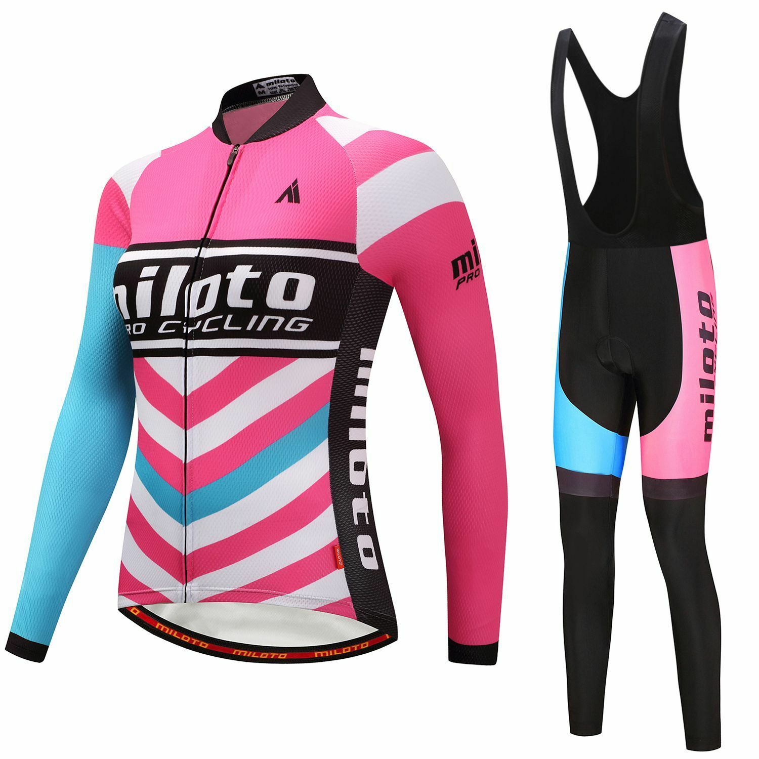 Pink Women's Cycling Kit Long Sleeve Cycle Jersey and (Bib) Pants Tights Set