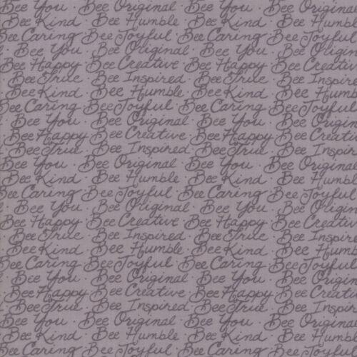 Bee Joyful Novelty Honey Bee Words 19876 15 Dove Gray Deb Strain Moda fabric