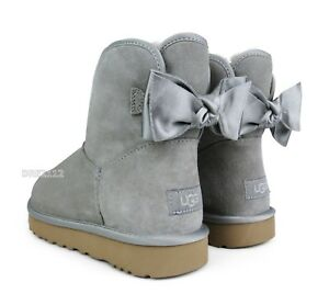 db018fdf2d50 UGG Classic Mini Satin Bow Elephant Suede Fur Boots Womens Size 10 ...