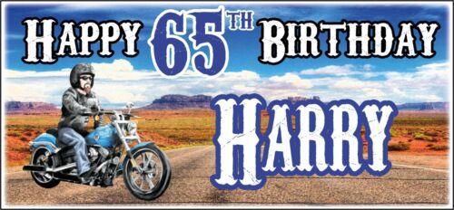 Moto Harley Chopper 65th Anniversaire Bannière x2 Homme Décorations de fête tout nom