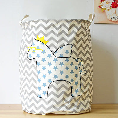 Clothing Foldable Storage Bag Round Cotton Linen Draw String Toy Basket Bins Box