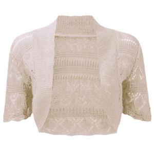 Ladies Crochet Bolero Short Sleeve Shrug Womens Knitted Cardigan Crop Top 8 26 by Ebay Seller