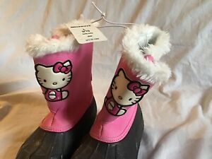 HELLO-KITTY-Sanrio-Sox-Tab-Youth-Girl-039-s-Snow-Boots-Pink-amp-White-Fur-L-9-10-NWT