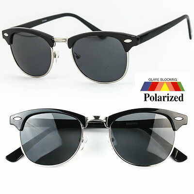 Classic Retro Anti Glare POLARIZED Style Half Frame Sunglasses Shades Vintage