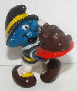 Thanksgiving-Turkey-Smurf-2-inch-Plastic-Figurine-20177-Vintage-1982-Figure