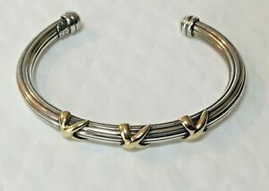 Vtg-MILROS-Solid-Sterling-silver-18k-gold-Bangle-Cuff-2-5-034-Bracelet-925-Italy